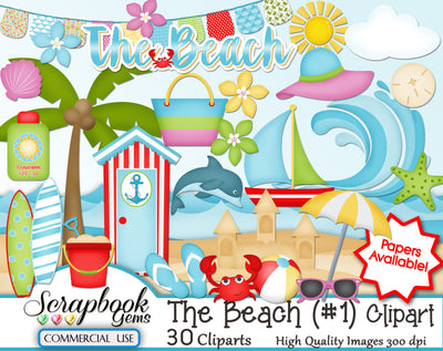 THE BEACH (Kit #1) Clipart
