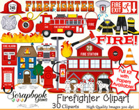 FIREFIGHTER Clipart & Papers