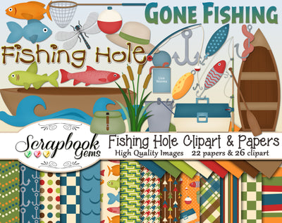 FISHING HOLE Clipart & Papers