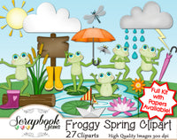 FROGGY SPRING  Clipart & Papers