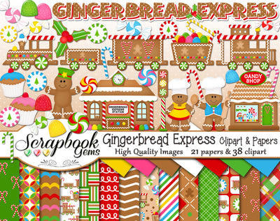 GINGERBREAD EXPRESS Clipart & Papers