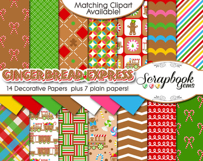 GINGERBREAD EXPRESS Digital Papers