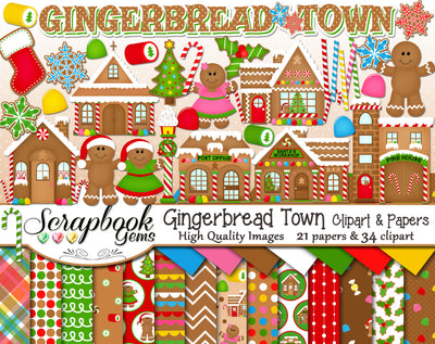 GINGERBREAD TOWN Clipart & Papers