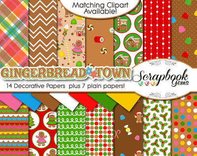 GINGERBREAD TOWN Digital Papers
