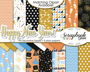 HAPPY NEW YEAR Digital Papers