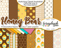 HONEY BEAR Clipart & Papers