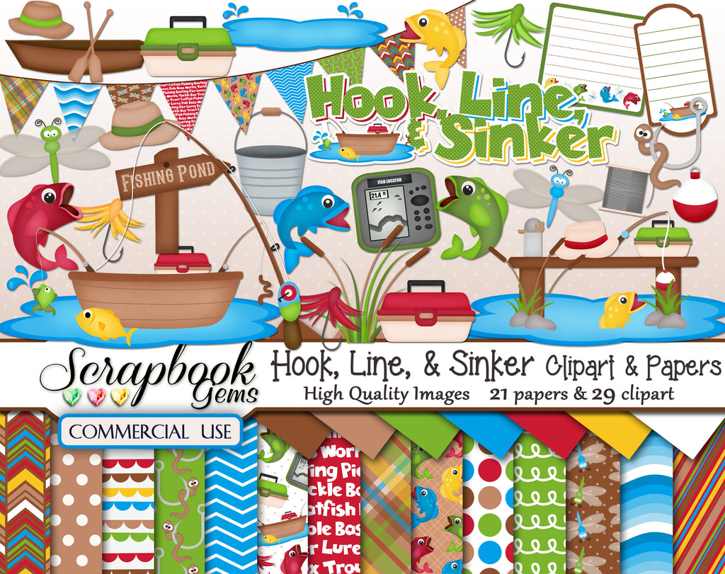 HOOK, LINE, & SINKER Clipart & Papers