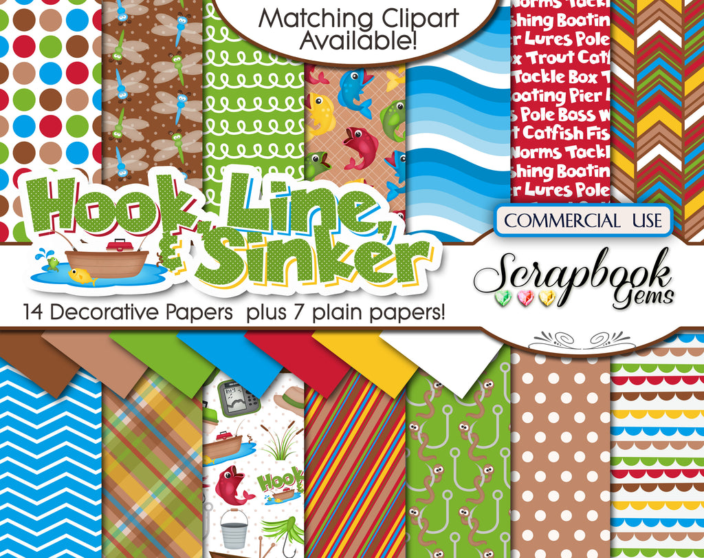 HOOK, LINE, & SINKER Digital Papers