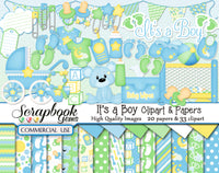 IT'S A BOY Clipart and Papers