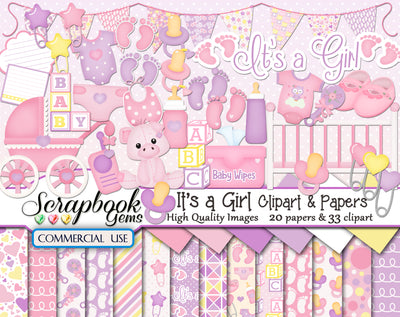 IT'S A GIRL Clipart and Papers