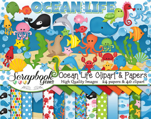 OCEAN LIFE Clipart and Papers