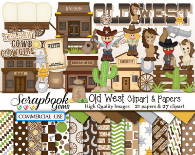 OLD WEST Clipart & Papers