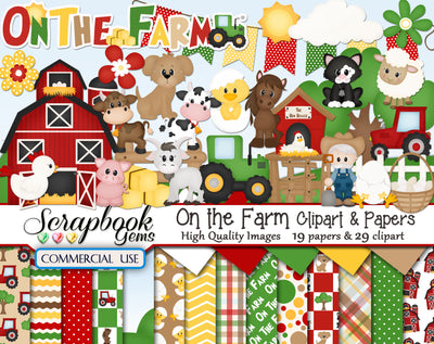 ON THE FARM Clipart & Papers