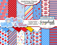 RED WHITE & BLUE Clipart & Papers