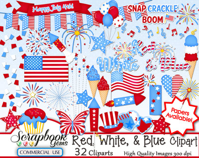 RED WHITE & BLUE Clipart