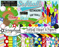 SOFTBALL Sports Clipart and Papers