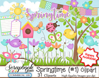 SPRINGTIME Kit #1 CLIPART AND PAPERS