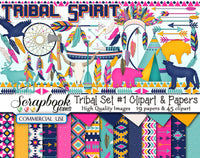 TRIBAL (Kit #1) Clipart and Papers