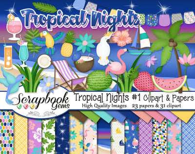 TROPICAL NIGHTS #1 Clipart and Papers