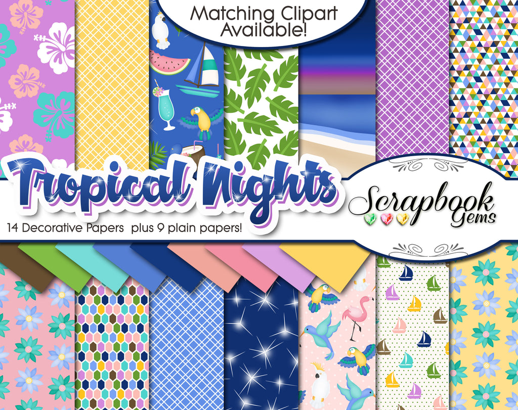 TROPICAL NIGHTS #1 Digital Papers