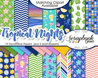 TROPICAL NIGHTS #2 Clipart and Papers