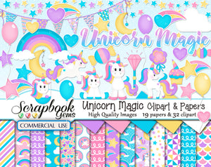 UNICORN MAGIC Clipart and Papers