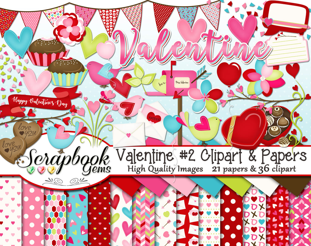 VALENTINE, Set #2 Clipart and Papers