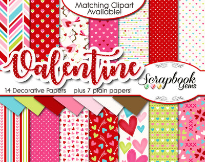 VALENTINE, Set #1 Digital Papers