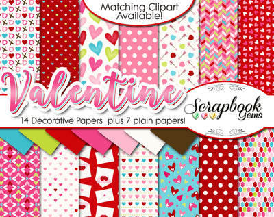 VALENTINE, Set #2 ClipartDigital Papers