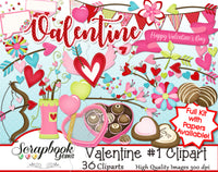 VALENTINE, Set #1 Clipart and Papers