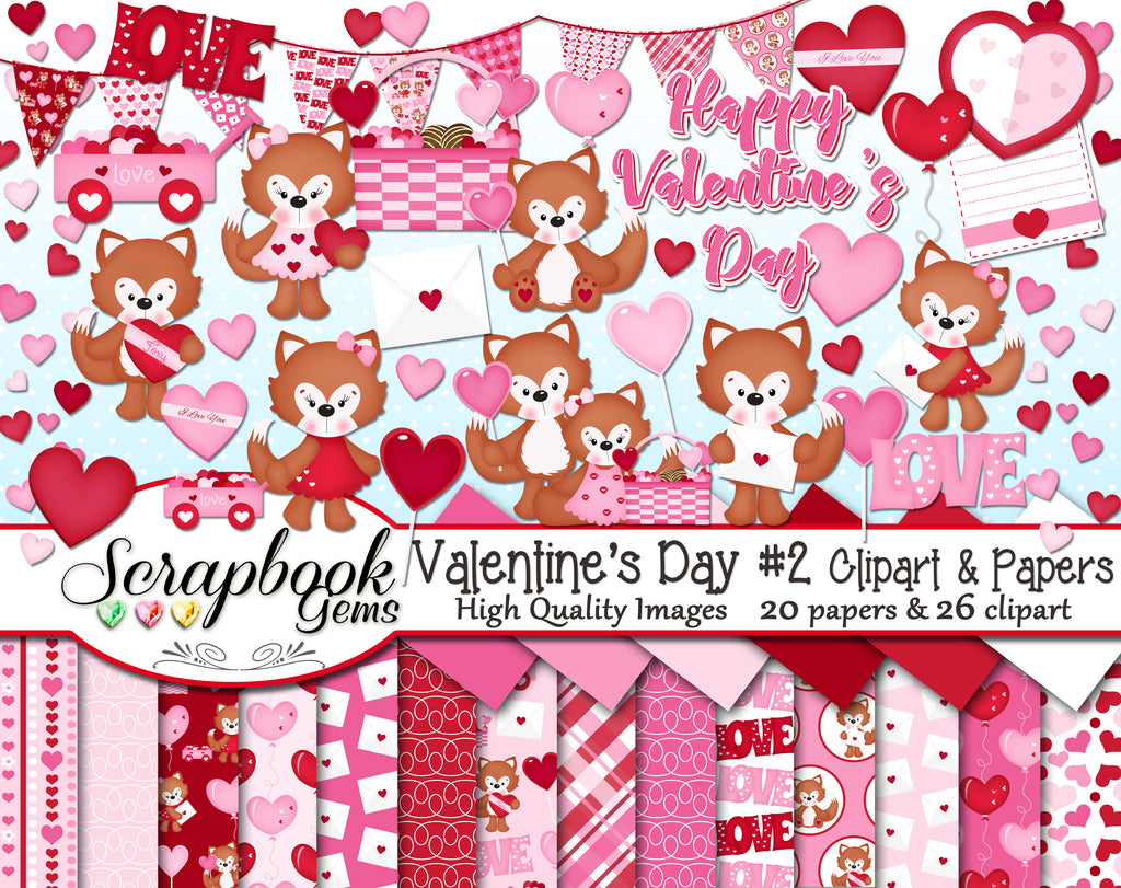 VALENTINE'S DAY, Set #2 Clipart and Papers