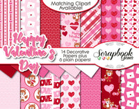 VALENTINE'S DAY, Set #2 Digital Papers