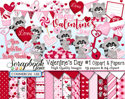 VALENTINE'S DAY, Set #1 Clipart and Papers