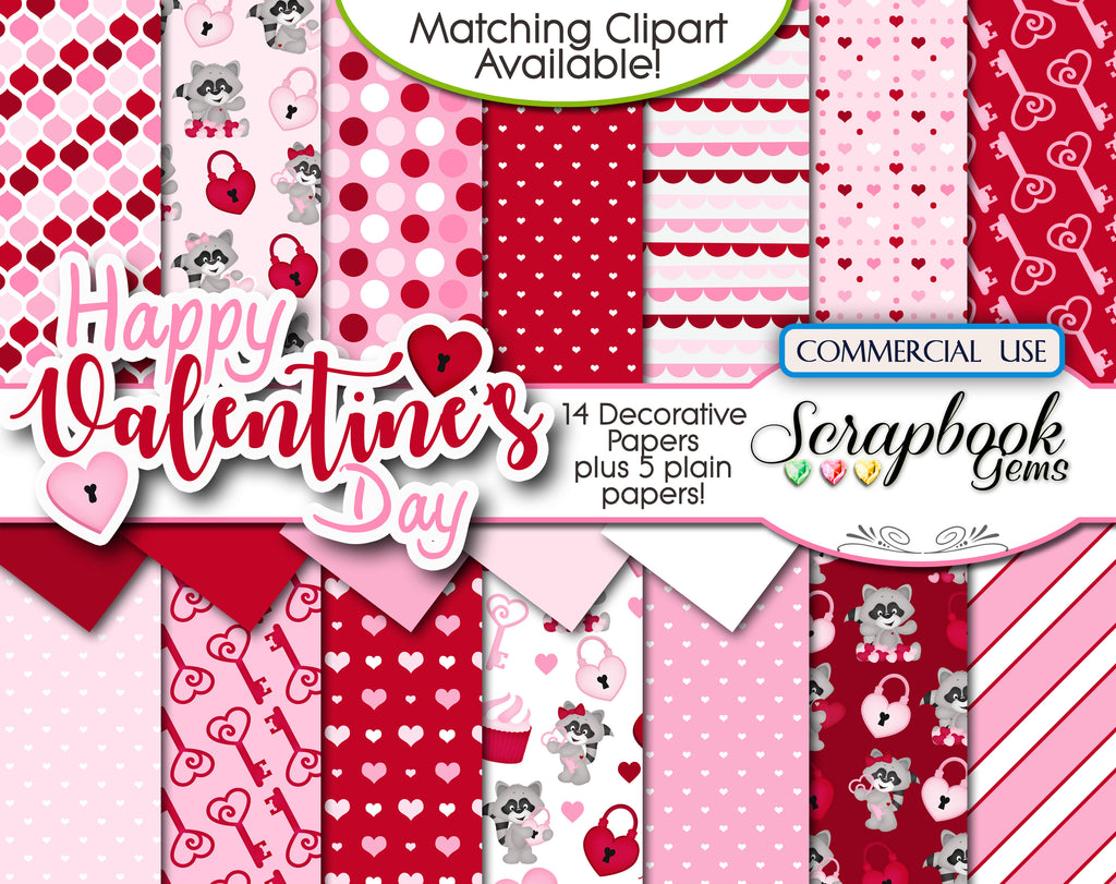 VALENTINE'S DAY, Set #1 Digital Papers