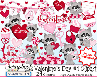 VALENTINE'S DAY, Set #1 Clipart