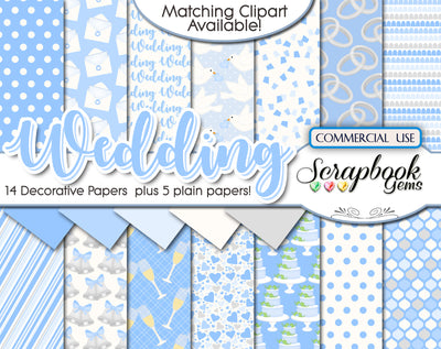 WEDDING BLUE Digital Papers