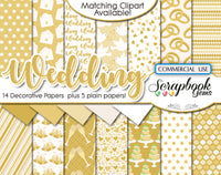 WEDDING GOLD Clipart and Papers