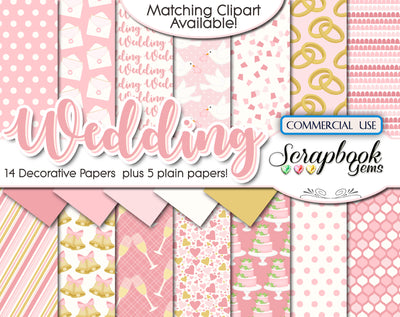 WEDDING PINK Digital Papers