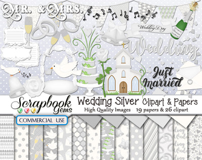 WEDDING SILVER Clipart and Papers