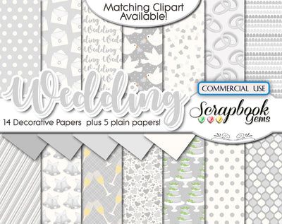 WEDDING SILVER Digital Papers