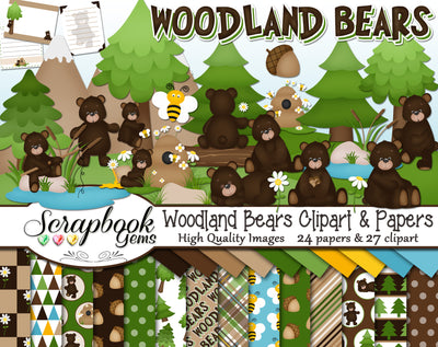 WOODLAND BEARS Clipart & Papers