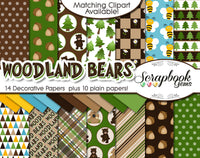 WOODLAND BEARS Digital Papers