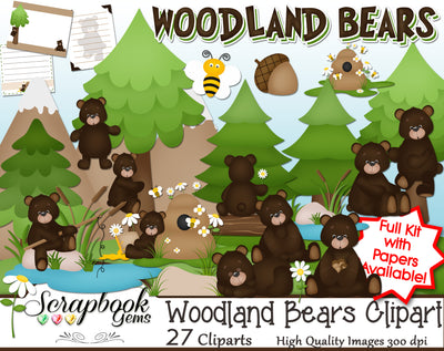 WOODLAND BEARS Clipart