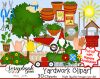 YARD WORK Clipart & Papers