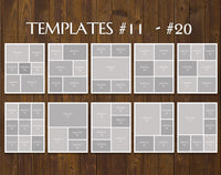 "TWENTY 11"" x 14"" --SQUARED CORNERS-- Digital Photo Collage Templates, PSD Format"