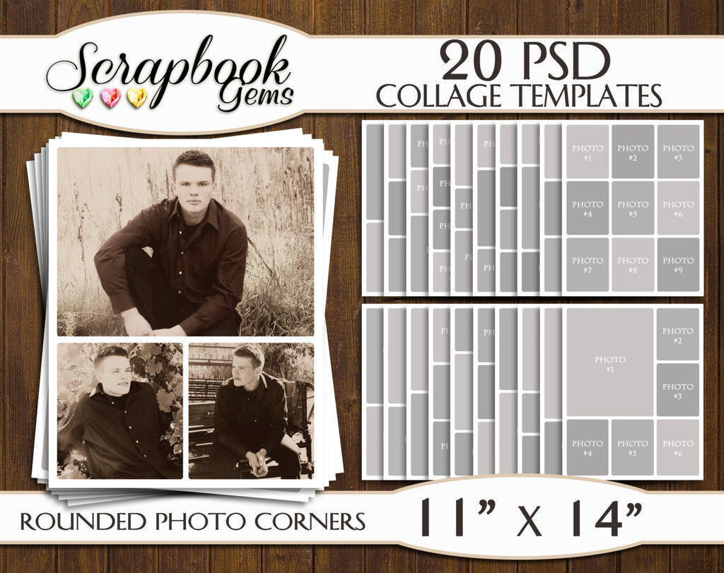 "TWENTY 11"" x 14"" --ROUNDED CORNERS-- Digital Photo Collage Templates, PSD Format"
