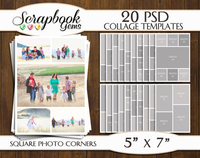 "TWENTY 5"" x 7"" Digital Photo Collage Templates, PSD Format"