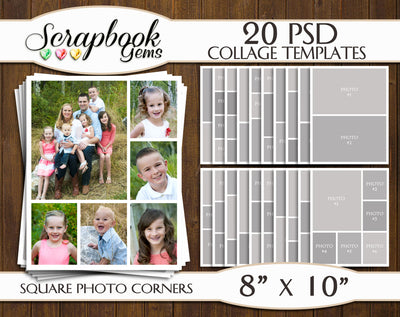 "TWENTY 8"" x 10"" --SQUARED CORNERS-- Digital Photo Collage Templates, PSD Format"