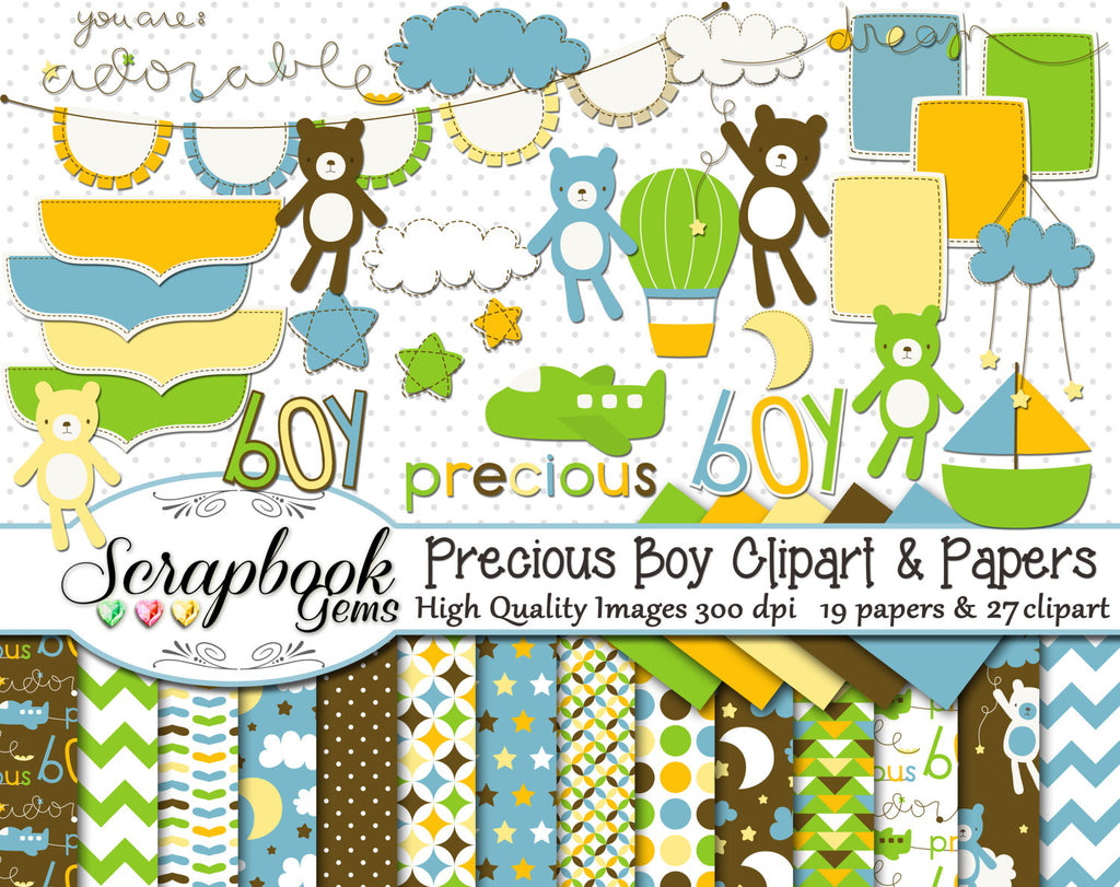 PRECIOUS BOY Clipart & Papers