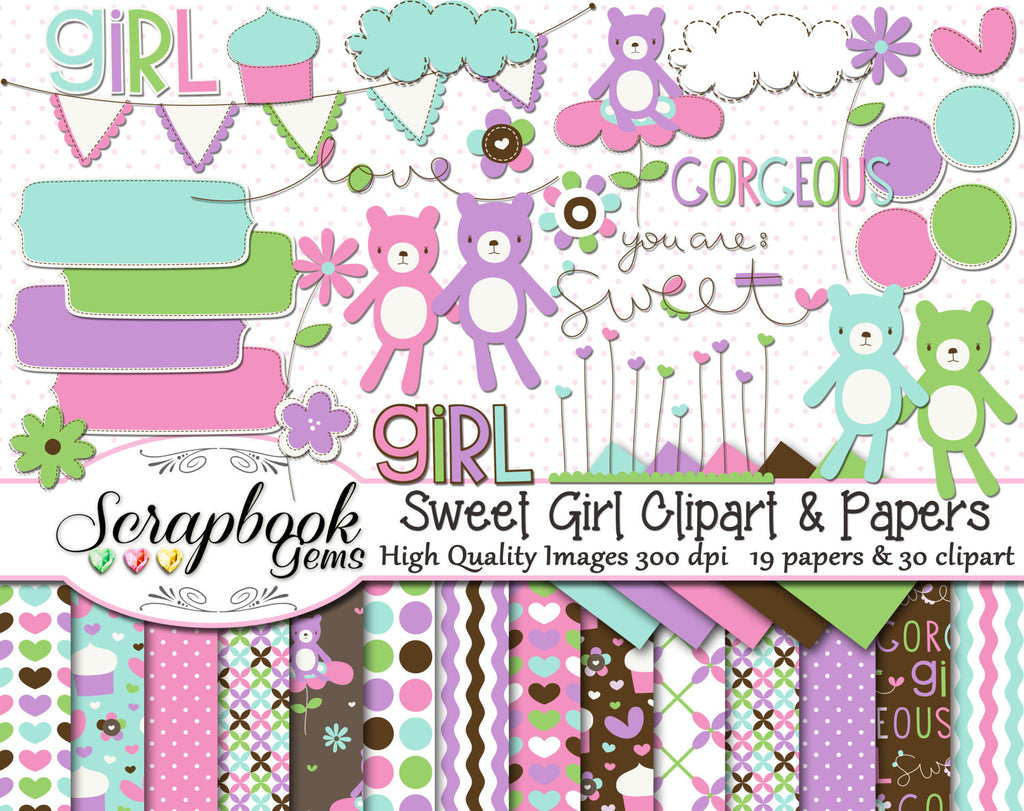 SWEET GIRL Clipart & Papers